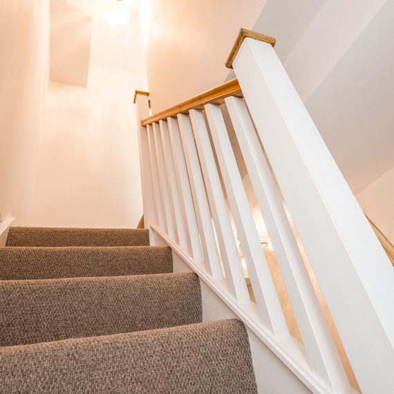 white stairway to loft conversion